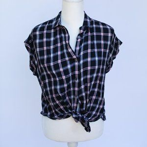 Navy Blue & Red Plaid Tie-Front Button-Up Shirt